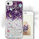 iPhone 7 グリッター ケース, iPhone 7 リキッドケース, クリエイティブ デザイン フローティング 豪華 リキッド グリッター キラキラ 輝き クリア ハード ケース 惑星パターン [TPU+PC] Apple iPhone 7 4.7 インチ 用 - 紫