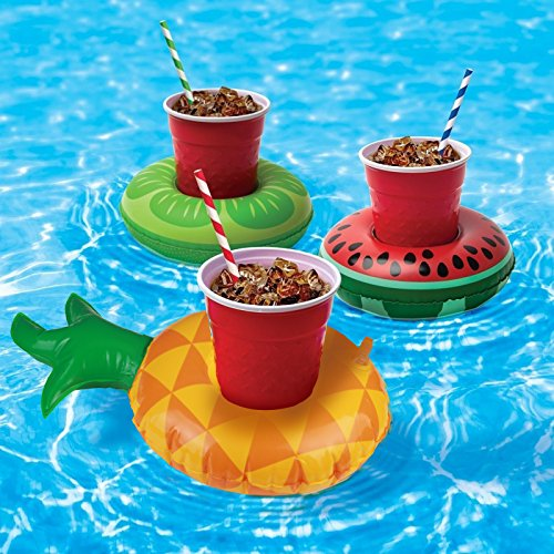 Inflatable Drink Holder,KAKOO 12 Pcs Inflating Floating Drink Coasters Cup Holders Swimming Floatation Devices for Pool Party Water Fun Kids Bath Toys Shower