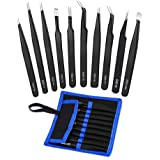 Tweezers Precision Set,Easily Life 10pcs ESD Tweezers Set, Anti Static Stainless Steel Anti Magnetic Tweezers Set with Storag