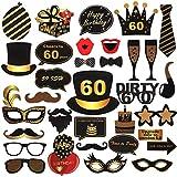 ToParty 60歳の誕生日 写真ブース小道具 ブラック&ゴールド 60歳の誕生日パーティーデコレーション