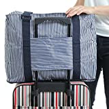 mark zenis 旅行バッグ ストライプ柄 機内用 折りたたみ スーツケースの持ち手に通せる 予備バッグ ダークブルー