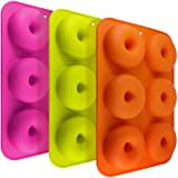 3 Pack Silicone Donut Molds, Finegood 6 Cavity Non-Stick Full-Sized Safe Baking Tray Maker Pan Heat Resistance For Cake Biscu