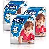 Drypers Wee Wee Dry Diapers, L, Case , 3 packs x 62 Count