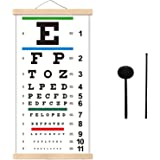 Eye Charts for Eye Exams 20 Feet, Snellen Eye Chart with Wooden Frame for Wall Decor, 22x11 Inches Canvas Low Vision Eye Char