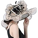 Abbrich Women's Tea Party Sun Hat Church Kentucky Derby Wide Brim Hat with Mesh Flowers
