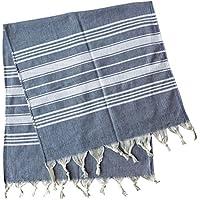 (Dark Blue) - Dandelion - Basic Pattern - Set of 2 Naturally-Dyed Cotton Turkish Hand Towels Peshkir - 100cm x 48cm - Dark Blue