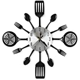 CIGERA 16 Inch Large Kitchen Wall Clocks with Spoons and Forks,Great Home Decor and Nice Gifts Black