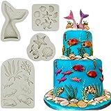 Mity rain Marine Theme Cake Fondant Mold - Seaweed Fish Seashell Coral Mermaid Tail Silicone Mold for Mermaid Theme Cake Deco