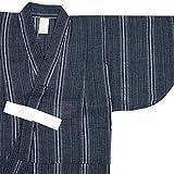 (キョウエツ) KYOETSU ボーイズ浴衣 しじら 綿麻生地 110-150cm 単品 (110cm, 変わり縞×紺)