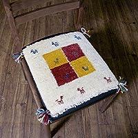 【1点もの?ギャッベ】夏涼しくて冬暖かい、カシュガイ族の織るウール100%手織りギャッベ ? 座布団サイズ / 38x36cm