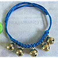 Aorunji 調節可能な 小さな子犬のための5つの鐘のネックレスジュエリー犬の首輪(黄色と青)