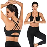 EISHOPEER Women's Strappy Sport Bra Removable Padded Wireless Cross Back Medium Support Workout Yoga Bra Crop Tops