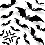Halloween 3D Bats Decorations 2021 Upgraded, 70 PCS 5 Bigger Sizes Reusable PVC Scary Black DIY Bat Stickers Realistic Vintag