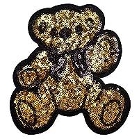 ワッペン 動物 大きい ビッグサイズ スパンコールワッペン アイロン接着 縦14.4cm×横13.5cm くま クマ アップリケ アイロンワッペン 手芸 雑貨 人気 カワイイ