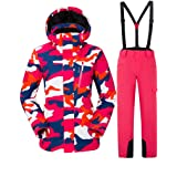 Luxfan Women&Men Colorful Print Hooded Snow Jacket Coat Windproof Waterproof Skiing Jacket Suit