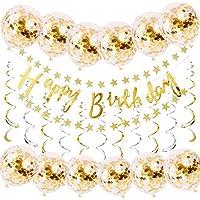 誕生日 飾り付け バルーン HAPPY BIRTHDAY 風船 バースデー デコレーション セット ゴールド 紙吹雪入れ バルーン パーティー お祝い 装飾 JM003