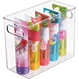 mDesign Slim Plastic Storage Container Bin with Handles - Bathroom Cabinet Organizer for Toiletries, Makeup, Shampoo, Conditi
