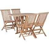 vidaXL 5 Pieces Solid Teak Wood Folding Outdoor Dining Set Weather Resistant 4 Chairs 1 Table Garden Lounge Set Indoor Kitche