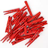 Just Artifacts 2.75-inch Craft Wood Clothespins/Peg Pins (100pc, Red)