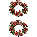 BinaryABC Christmas Candle Rings Wreaths,Red Berry Candle Rings,Christmas Candle Holder Rings,Christams Decorations,2Pcs