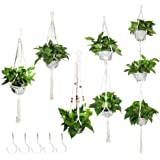 ValueHall Macrame Plant Hanger Set of 5 Flower Pot Holder with 5 Hooks Handmade Cotton Plant Holder Wall Hanging Planter Bask
