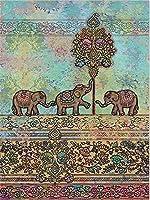自由奔放に生きるサイケデリックな象7パターン花柄タペストリー壁掛け掛け布団ピクニック毛布ベッドカバーのカーテンの装飾表79 L x 60 Hインチ(L、B 7)