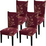 Fuloon Super Fit Stretch Jacquard Removable Washable Short Dining Chair Covers Seat Slipcover for Hotel,Dining Room,Ceremony,