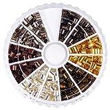 PandaHall Elite メタル ビーズ 筒状 アクセサリー エンド パーツ 混合6色 420個/箱