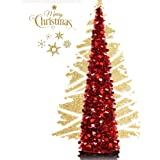 EEX 5ft Collapsible Artificial Christmas Tree, Pop Up Tinsel Coastal Christmas Tall Skinny Tree with Stand, Sequin Pensil Tre