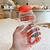 SLSNATFOUND Plastic Water Bottle Tour Drinking Bottle Yakult Shape Cute Kawaii Milk Carton Shaker Bottle for Kids/Girl/Adult