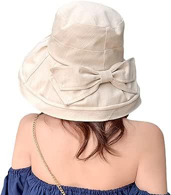 T WILKER UVカット 帽子 レディース uv帽 小顔効果抜群 【UVカット率99% 熱中症予防】 女優帽 日よけ ハット 取り外すあご紐 自転車 日焼け 折りたたみ 持ち運び つば広 リボン付き 吸汗通気 紫外線対策