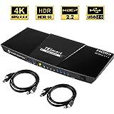 TESmart 4K@60Hz PC切り替え HDR HDMI パソコン切替器  4ポートKVMスイッチ、60 Hz HDMI付き  4x1用の複数のポート Com-plete USB対応ケーブル  最大4台のコンピュータ、サーバ、DVRを制御  リモートコントロールディスプレイ(4ポート 黒)