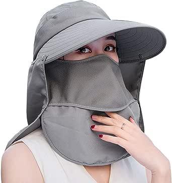 ガーデニング 帽子 Hoomoi 撥水加工 4WAY使方 UVカット つば広 ハット 農作業 紫外線対策 よけ おしゃれ帽子 フェイスカバー サンバイザ