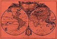 """「ワールドマップ( 1775)ライトレッド&ブラック壁アートプリントby alleycatshirts @ Zazzle 32"""" x 22"""" 5871460_4_0"""