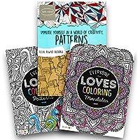高度な大人カラーリングブックセット – - 3のパックプレミアムパターンとMandalas Coloring Books For Adults (パターンコレクション)