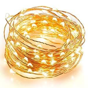 LEDイルミネーションライト、電飾、フェアリーライト、銅線ワイヤー、10メートル、100のLEDのストリングライト、電球色、クリスマスやウェディングパーティーなどに適する。