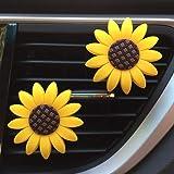 Zadin 2xPACK Sunflower Car Accesories Cute Car Air Freshener Sunflower Air Vent Clips Sunflowers Gift Decorations Girasoles C