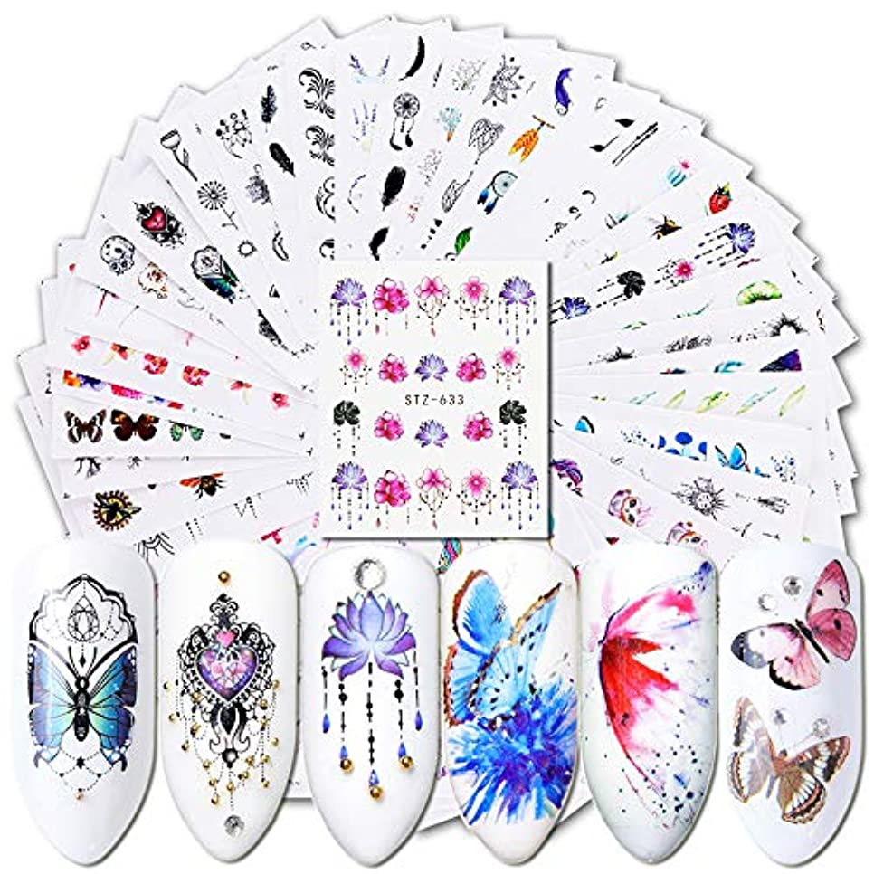 肺炎ストラトフォードオンエイボン縞模様のKingsie ネイルシール 40枚セット ウオーターシール 自然風物 ドリームキャッチャー 花 蝶 マニキュア ネイルアート デコレーション