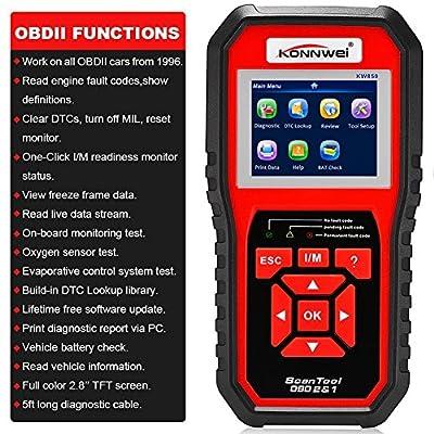KONNWEI OBD2 Scanner Code Reader OBD II Auto Diagnostic Code Scanner OBD EOBD Car Engine Fault CAN Diagnostic Scan Tool with I/M Readiness(Enhanced KW850)