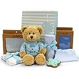Newborn Baby Boy Gift with Plush Teddy 'It's a Boy!' 28cm, 100% Cotton Muslin Wrap, Cute Handmade Blue Gingerbread Butterfly