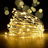 LED Fairy String Lights with Remote Control - 2 Set 100 LED 33ft/10m Micro Silver Wire Indoor Battery Operated Firefly String