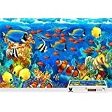 pigbangbang、20.6 X 15.1インチ、ハンドメイドintellectivゲームプレミアム木製DIY接着のJigsaw Nice Painting – Dolphin Sea Ish Corals Underwater – 500ピースジグソーパズル