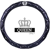 Ladies Car Steering Wheel Cover with Diamond Lattice Girly Classy Fashion Collection Car Steering Wheel Cover with Crown and
