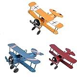 TTKBHHQ 3pc Vintage Metal Planes Model Iron Retro Aircraft Glider Biplane Pendant Model Airplane kids ToyChristmasHome DecorO