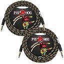 2-Pack Pig Hog PCH20RA Rasta Stripes Vintage Instrument Cable 20ft 並行輸入品