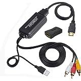 HDMI to RCA変換ケーブル HDMI to AVコンバータデジタル 3RCA/AV 変換ケーブル TV / HDTV / Xbox / PC / DVD / Blu-ray Player / PAL / NTSCテレビ HDMI RCA/AV