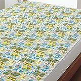 ●シングル 西川リビング ボレリー かわいい 水洗い敷きパッド(BO3038) がわ綿100% (ブルー)