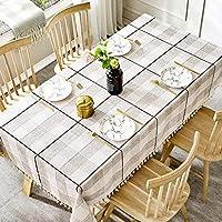 WENJUN テーブルクロス, エレガンスチェック柄現代織固体装飾テーブルクロス、正方形/長方形のテーブルクロス、家庭用キッチンテーブルクロス、3色 (色 : ライトグレー, サイズ さいず : 90*130cm)