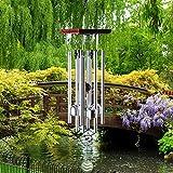 ウィンドチャイム ウッド風鈴 木製 アウトドア用 風水ウィンドベル MOTOUE 屋内風鈴 8本アルミチューブと4個ベル付き シルバー