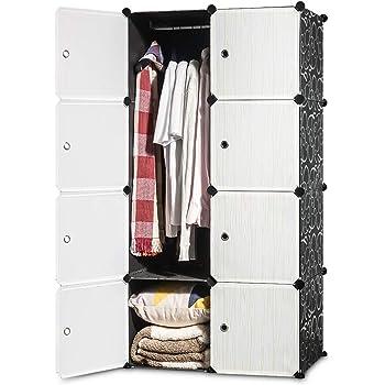 iOCHOW ワードローブ 70x45x140cm 北欧風 収納ケース 衣類 環境保護樹脂 耐久性 鉄筋の骨組 耐荷重 衣類収納